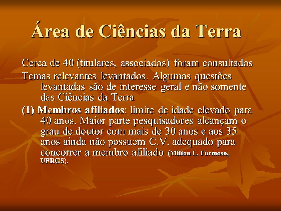 Área de Ciências da Terra Cerca de 40 (titulares, associados) foram consultados Temas relevantes levantados.