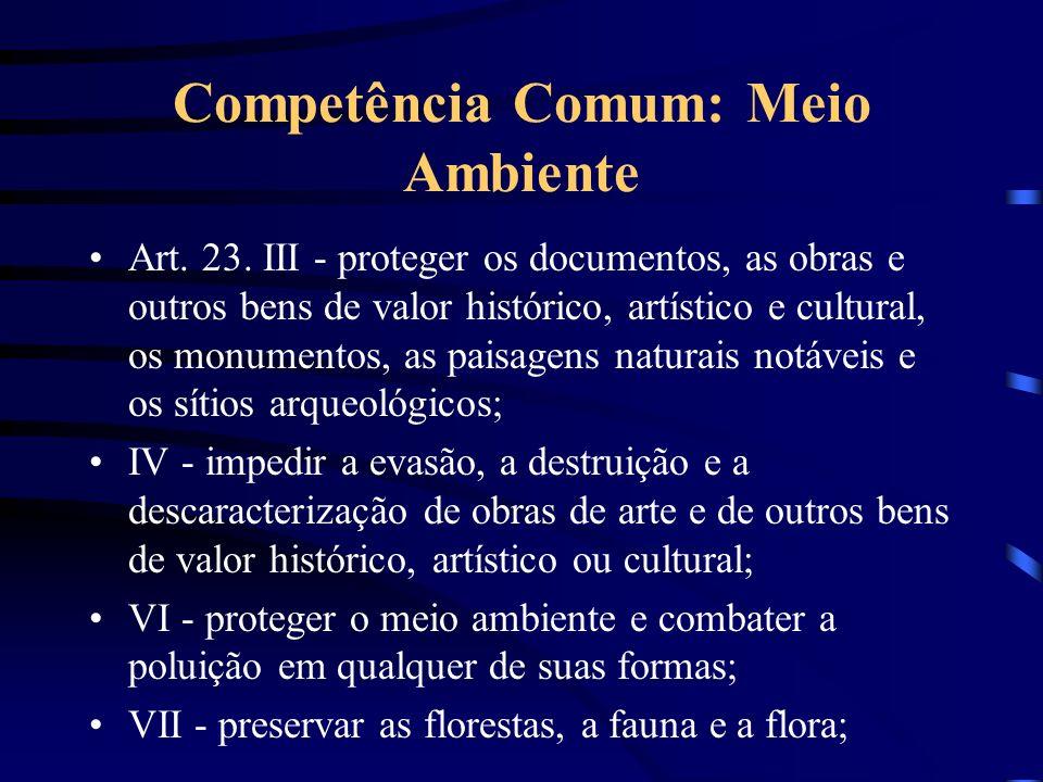 Competência Comum: Meio Ambiente Art. 23. III - proteger os documentos, as obras e outros bens de valor histórico, artístico e cultural, os monumentos