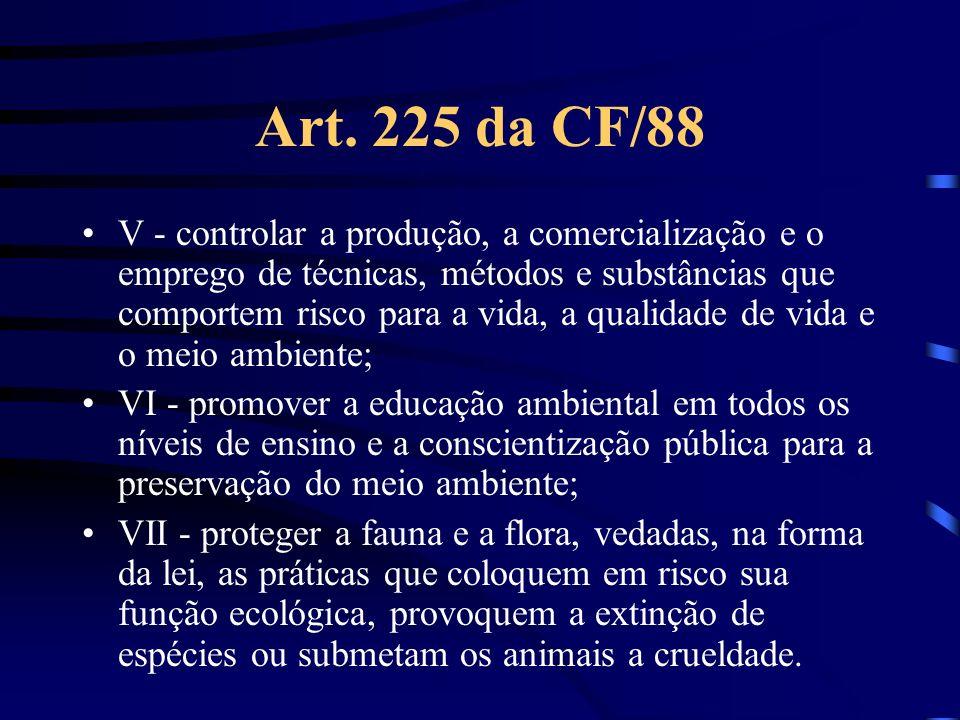 Art. 225 da CF/88 V - controlar a produção, a comercialização e o emprego de técnicas, métodos e substâncias que comportem risco para a vida, a qualid