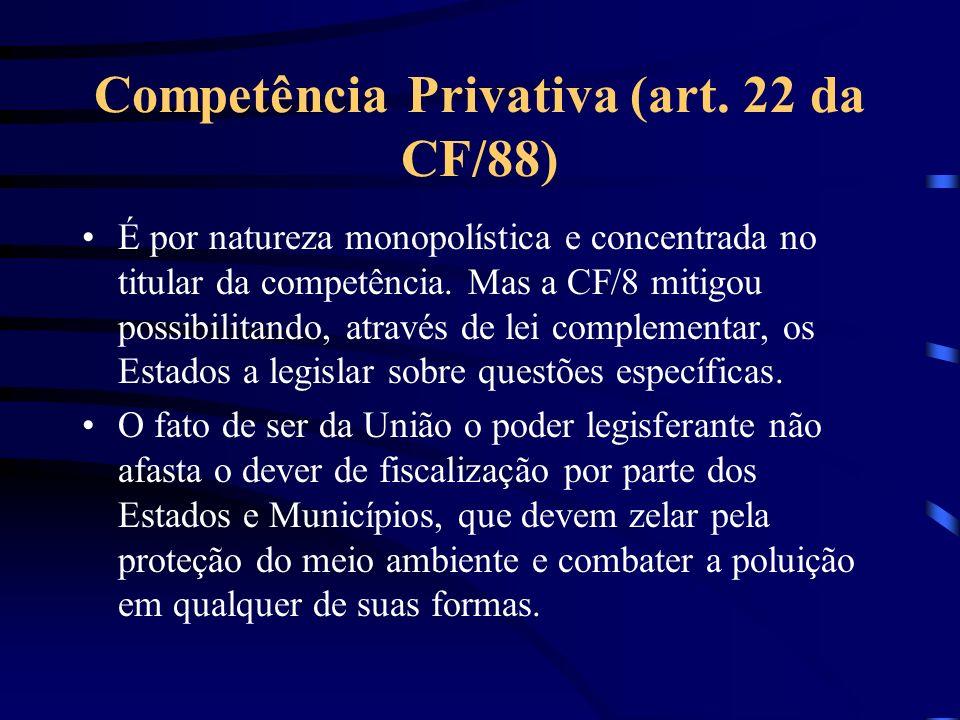 Competência Privativa (art. 22 da CF/88) É por natureza monopolística e concentrada no titular da competência. Mas a CF/8 mitigou possibilitando, atra