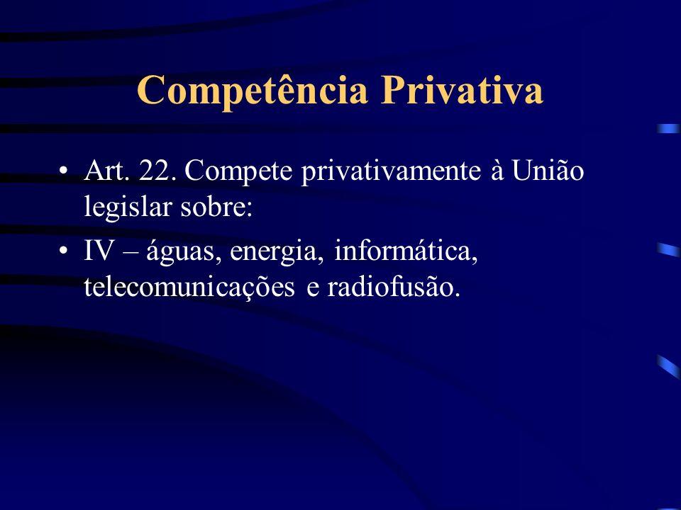 Competência Privativa Art. 22. Compete privativamente à União legislar sobre: IV – águas, energia, informática, telecomunicações e radiofusão.