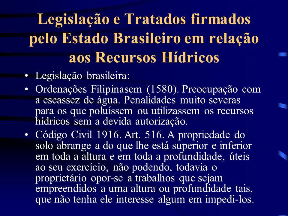 Legislação e Tratados firmados pelo Estado Brasileiro em relação aos Recursos Hídricos Legislação brasileira: Ordenações Filipinasem (1580). Preocupaç