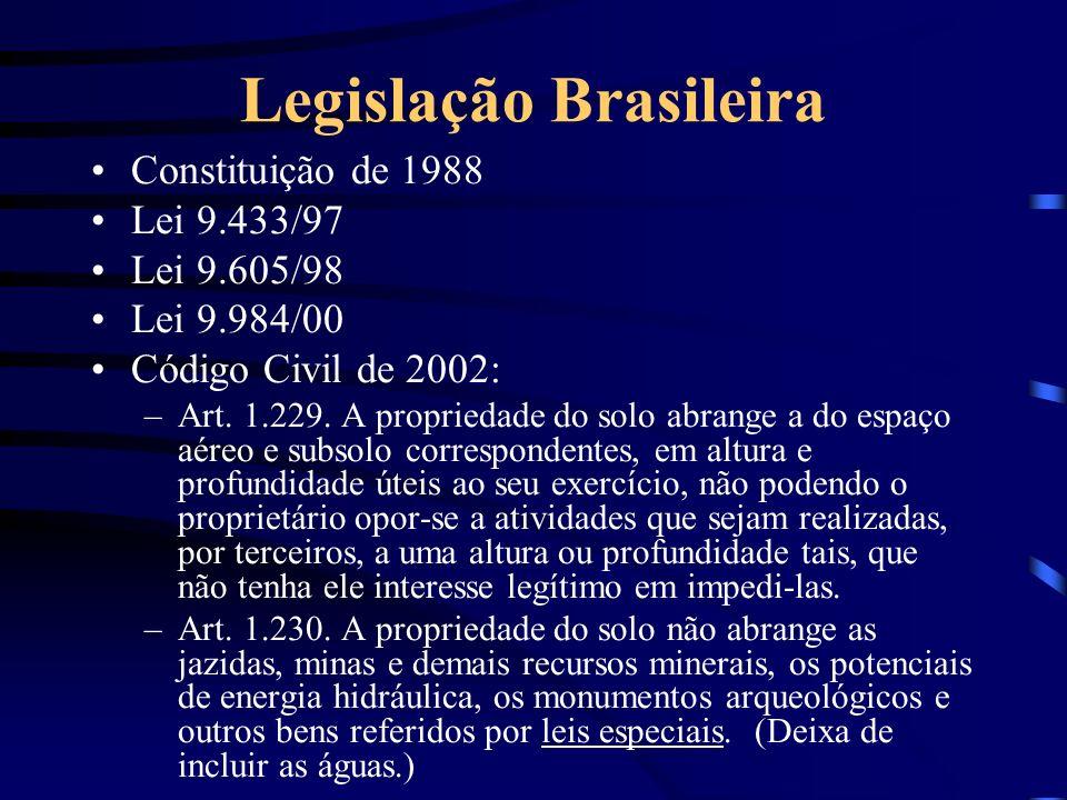 Legislação Brasileira Constituição de 1988 Lei 9.433/97 Lei 9.605/98 Lei 9.984/00 Código Civil de 2002: –Art. 1.229. A propriedade do solo abrange a d