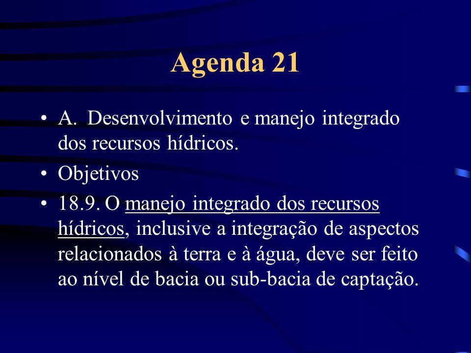 Agenda 21 A.Desenvolvimento e manejo integrado dos recursos hídricos. Objetivos 18.9. O manejo integrado dos recursos hídricos, inclusive a integração