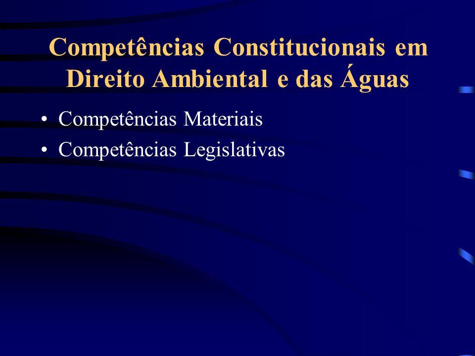 Competências Constitucionais em Direito Ambiental e das Águas Competências Materiais Competências Legislativas