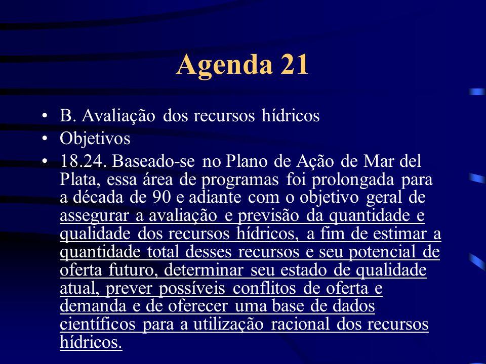 Agenda 21 B. Avaliação dos recursos hídricos Objetivos 18.24. Baseado-se no Plano de Ação de Mar del Plata, essa área de programas foi prolongada para