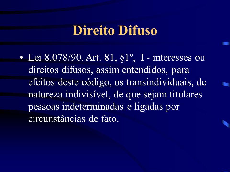 Direito Difuso Lei 8.078/90. Art. 81, §1º, I - interesses ou direitos difusos, assim entendidos, para efeitos deste código, os transindividuais, de na