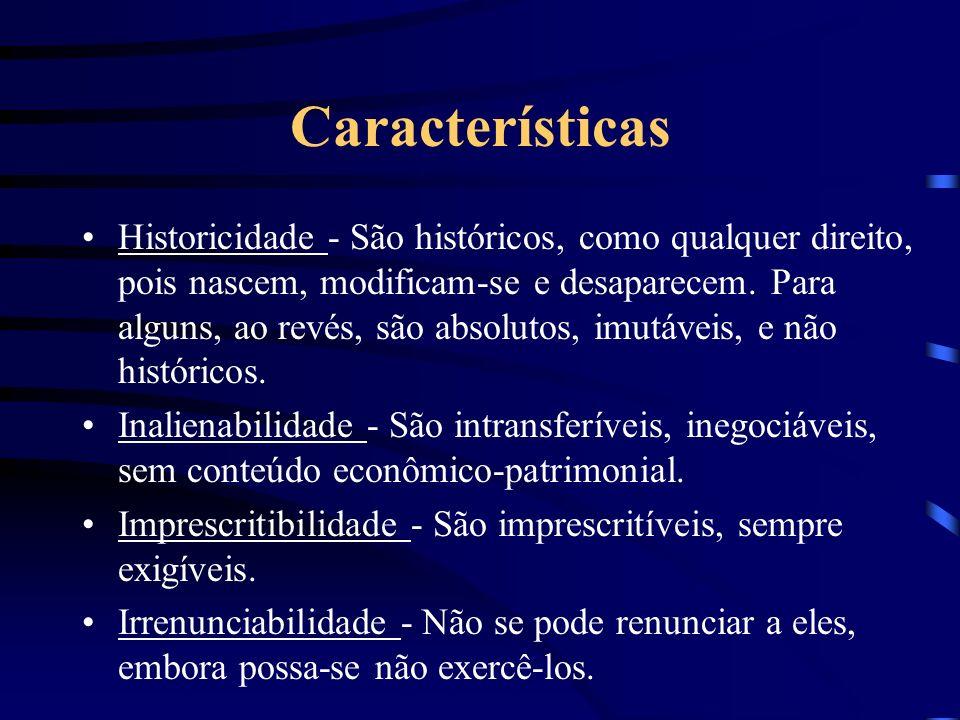 Características Historicidade - São históricos, como qualquer direito, pois nascem, modificam-se e desaparecem. Para alguns, ao revés, são absolutos,