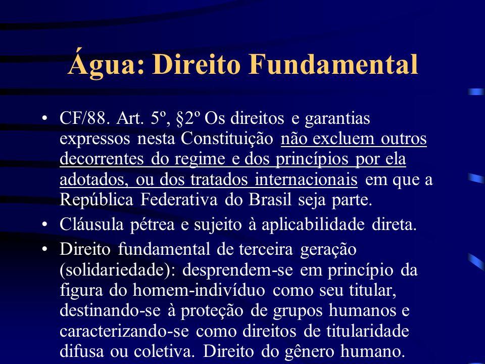 Água: Direito Fundamental CF/88. Art. 5º, §2º Os direitos e garantias expressos nesta Constituição não excluem outros decorrentes do regime e dos prin
