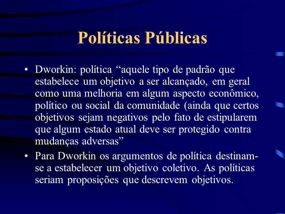 Políticas Públicas Dworkin: política aquele tipo de padrão que estabelece um objetivo a ser alcançado, em geral como uma melhoria em algum aspecto eco