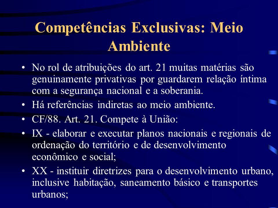 Competências Exclusivas: Meio Ambiente No rol de atribuições do art. 21 muitas matérias são genuinamente privativas por guardarem relação íntima com a