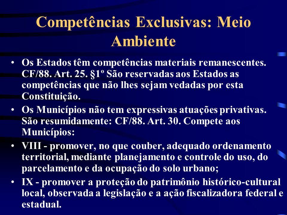 Competências Exclusivas: Meio Ambiente Os Estados têm competências materiais remanescentes. CF/88. Art. 25. §1º São reservadas aos Estados as competên