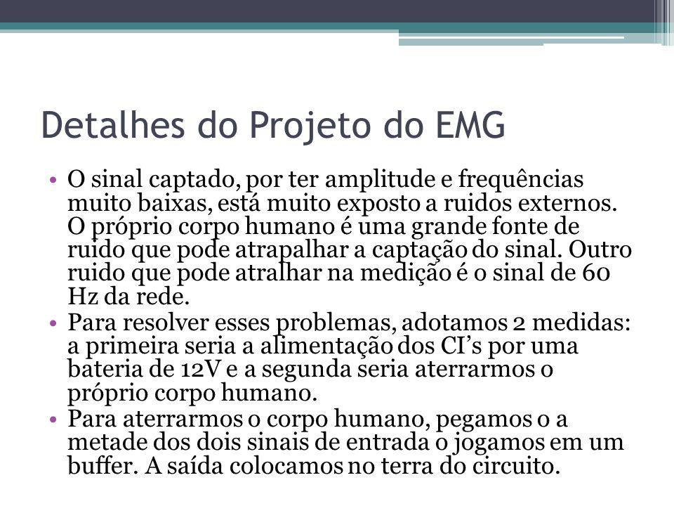 Detalhes do Projeto do EMG O sinal captado, por ter amplitude e frequências muito baixas, está muito exposto a ruidos externos. O próprio corpo humano
