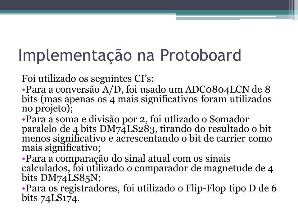 Implementação na Protoboard Foi utilizado os seguintes CIs: Para a conversão A/D, foi usado um ADC0804LCN de 8 bits (mas apenas os 4 mais significativ