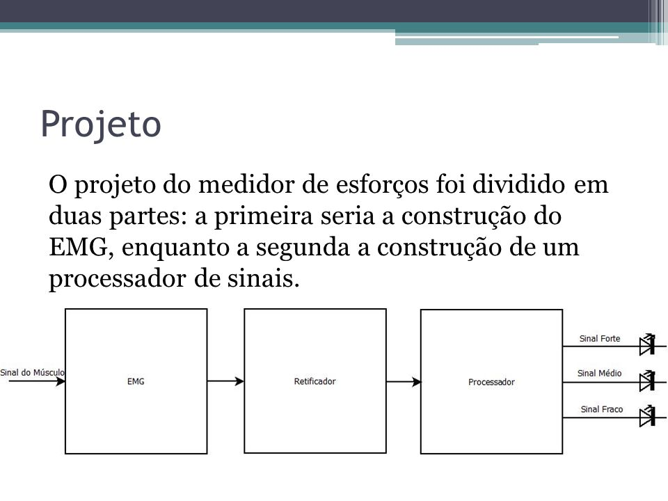 Projeto O projeto do medidor de esforços foi dividido em duas partes: a primeira seria a construção do EMG, enquanto a segunda a construção de um proc