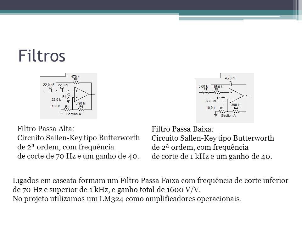 Filtros Filtro Passa Alta: Circuito Sallen-Key tipo Butterworth de 2ª ordem, com frequência de corte de 70 Hz e um ganho de 40. Filtro Passa Baixa: Ci