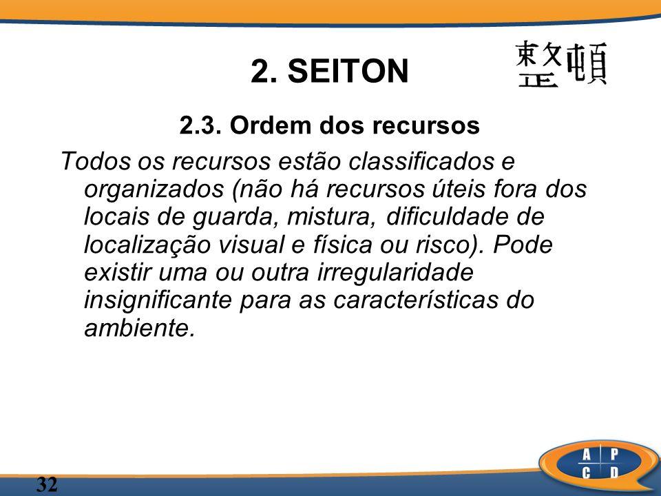 32 2. SEITON 2.3. Ordem dos recursos Todos os recursos estão classificados e organizados (não há recursos úteis fora dos locais de guarda, mistura, di