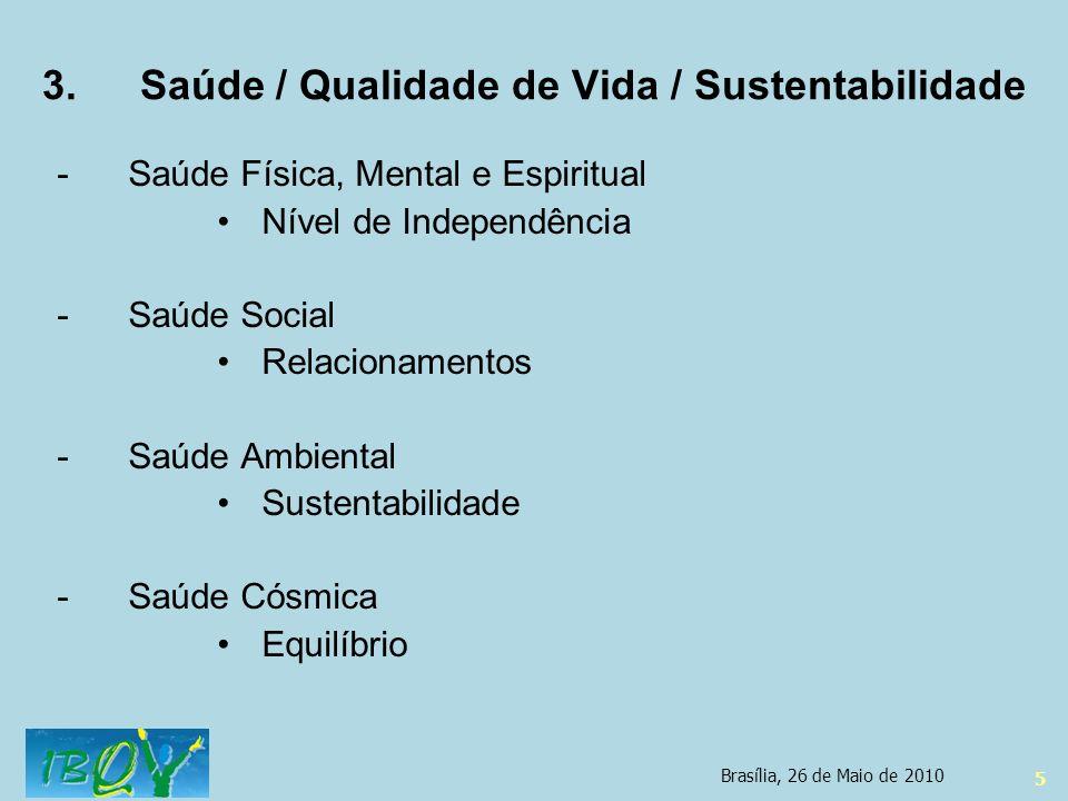 5 3.Saúde / Qualidade de Vida / Sustentabilidade -Saúde Física, Mental e Espiritual Nível de Independência -Saúde Social Relacionamentos -Saúde Ambien