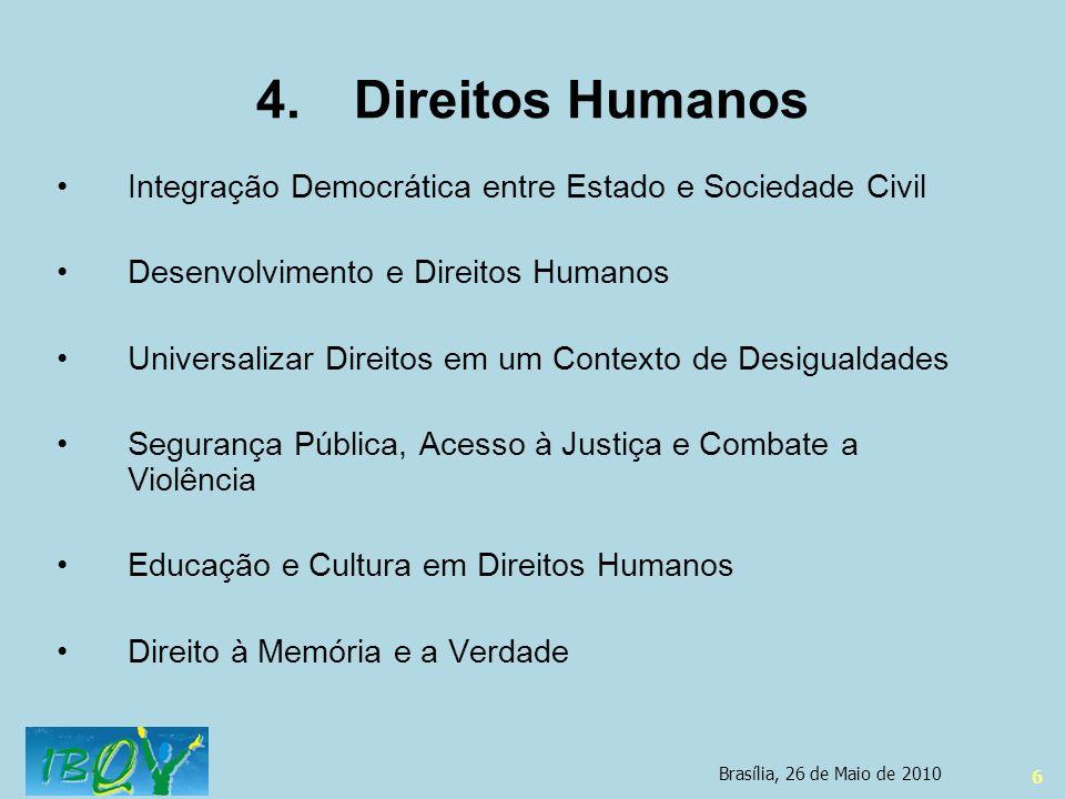 6 4.Direitos Humanos Integração Democrática entre Estado e Sociedade Civil Desenvolvimento e Direitos Humanos Universalizar Direitos em um Contexto de