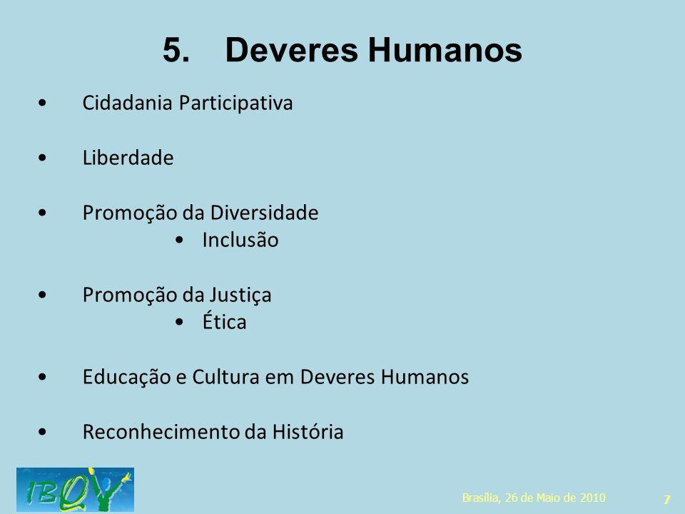 7 5.Deveres Humanos Cidadania Participativa Liberdade Promoção da Diversidade Inclusão Promoção da Justiça Ética Educação e Cultura em Deveres Humanos