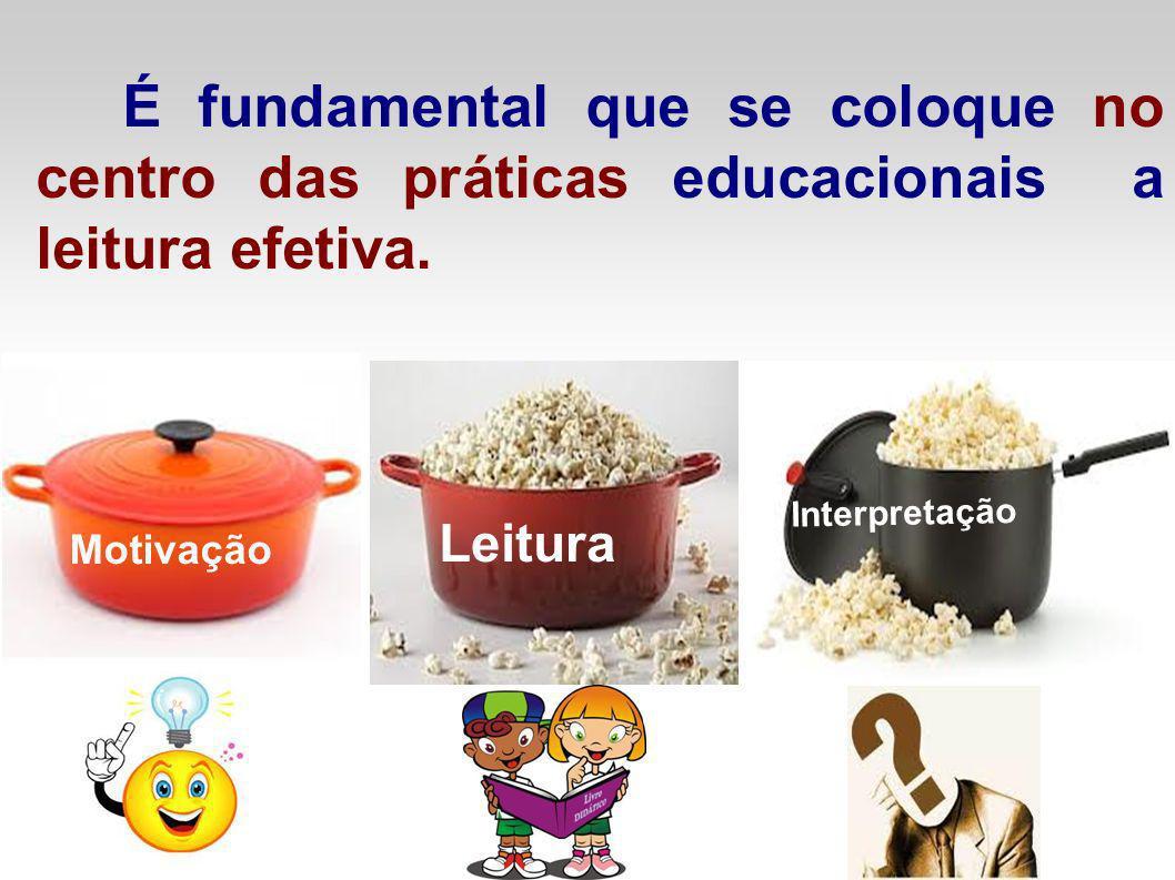 É fundamental que se coloque no centro das práticas educacionais a leitura efetiva. Motivação Leitura Interpretação
