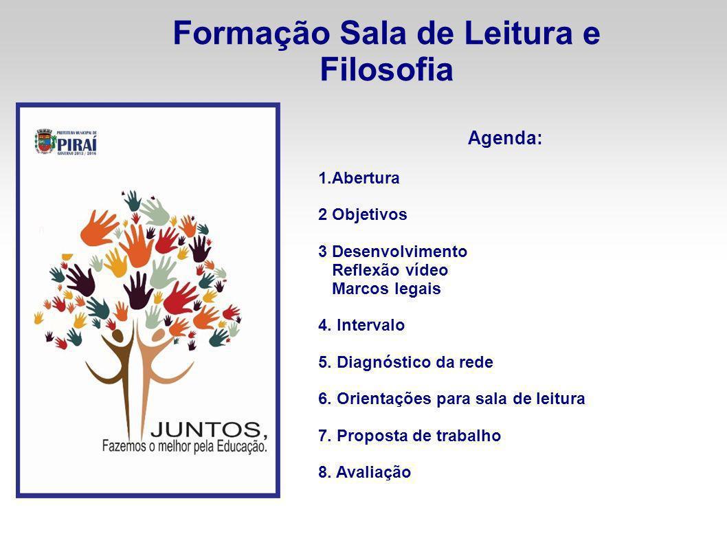 Formação Sala de Leitura e Filosofia Agenda: 1.Abertura 2 Objetivos 3 Desenvolvimento Reflexão vídeo Marcos legais 4. Intervalo 5. Diagnóstico da rede