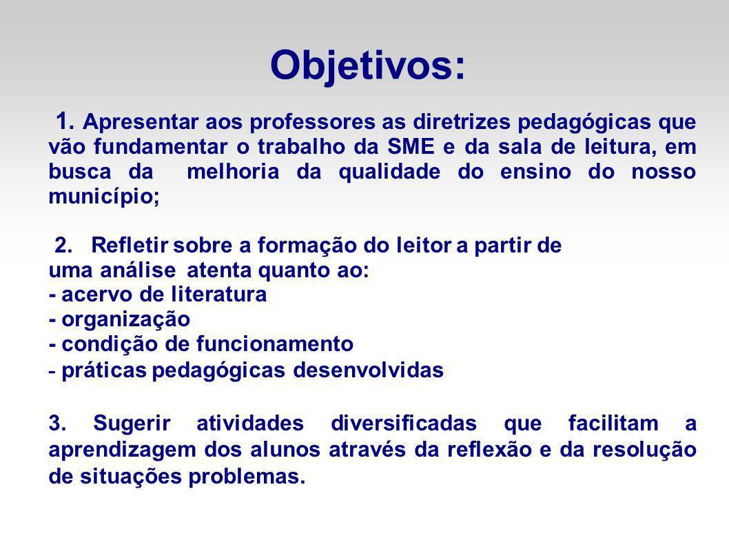 Objetivos: 1. Apresentar aos professores as diretrizes pedagógicas que vão fundamentar o trabalho da SME e da sala de leitura, em busca da melhoria da