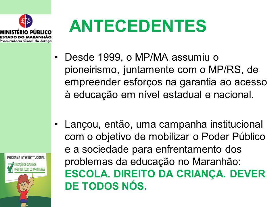 ANTECEDENTES Desde 1999, o MP/MA assumiu o pioneirismo, juntamente com o MP/RS, de empreender esforços na garantia ao acesso à educação em nível estadual e nacional.