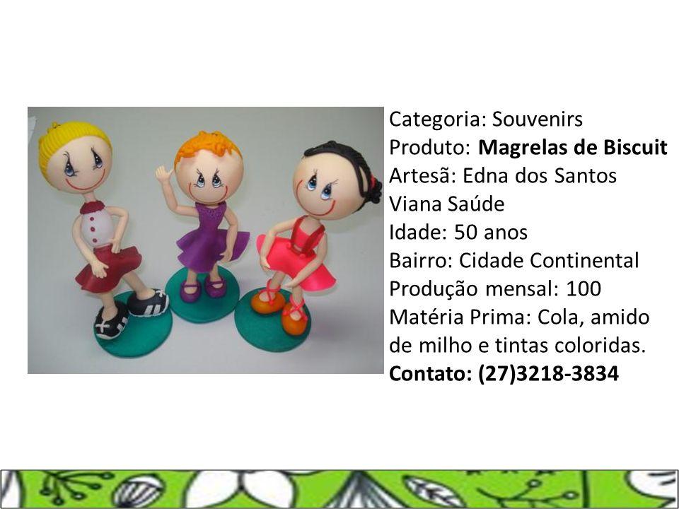 Categoria: Souvenirs Produto: Magrelas de Biscuit Artesã: Edna dos Santos Viana Saúde Idade: 50 anos Bairro: Cidade Continental Produção mensal: 100 M
