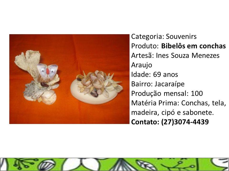 Categoria: Souvenirs Produto: Bibelôs em conchas Artesã: Ines Souza Menezes Araujo Idade: 69 anos Bairro: Jacaraípe Produção mensal: 100 Matéria Prima