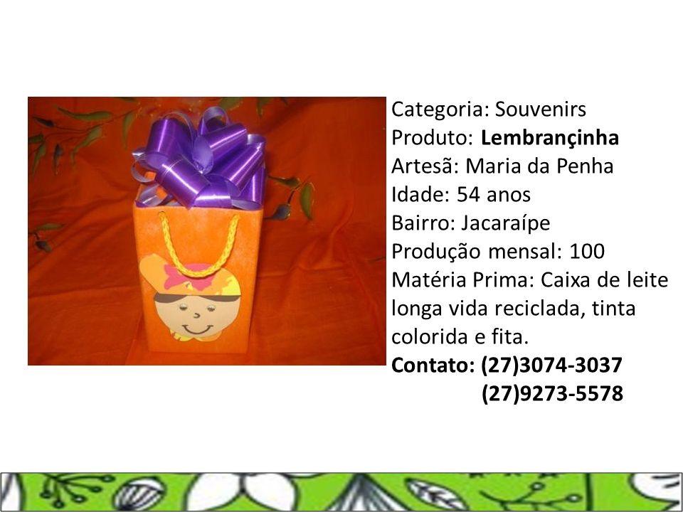 Categoria: Souvenirs Produto: Lembrançinha Artesã: Maria da Penha Idade: 54 anos Bairro: Jacaraípe Produção mensal: 100 Matéria Prima: Caixa de leite