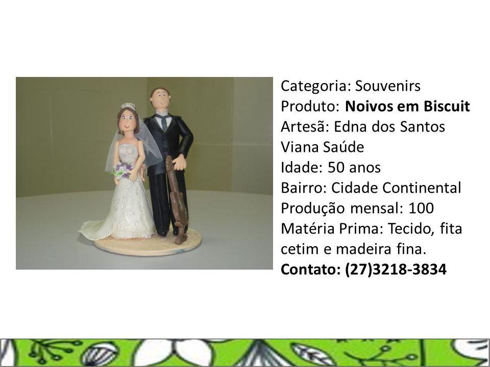 Categoria: Souvenirs Produto: Noivos em Biscuit Artesã: Edna dos Santos Viana Saúde Idade: 50 anos Bairro: Cidade Continental Produção mensal: 100 Mat