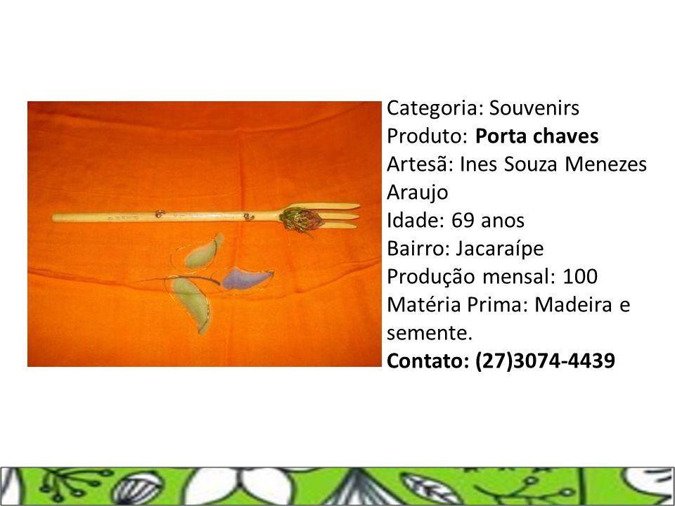 Categoria: Souvenirs Produto: Porta chaves Artesã: Ines Souza Menezes Araujo Idade: 69 anos Bairro: Jacaraípe Produção mensal: 100 Matéria Prima: Made