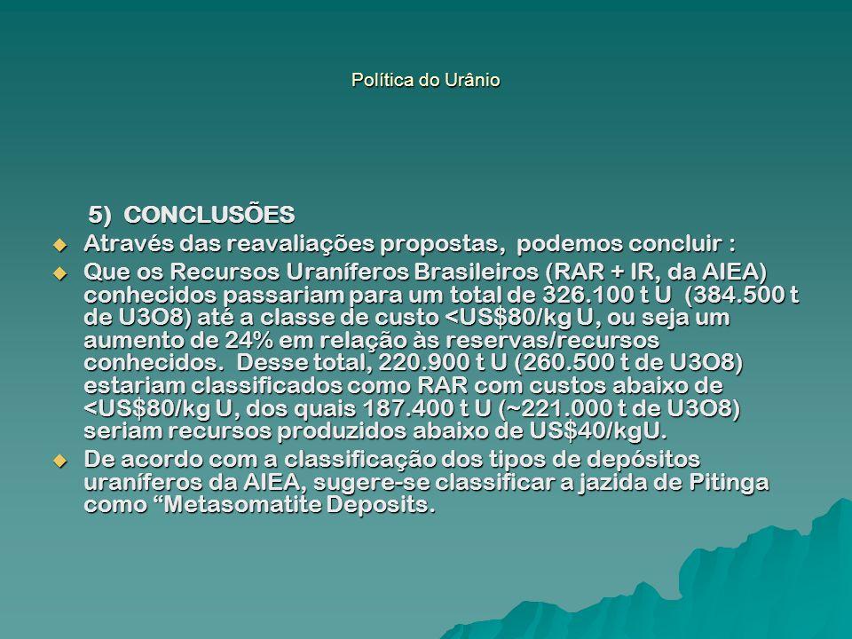 5) CONCLUSÕES 5) CONCLUSÕES Através das reavaliações propostas, podemos concluir : Através das reavaliações propostas, podemos concluir : Que os Recur
