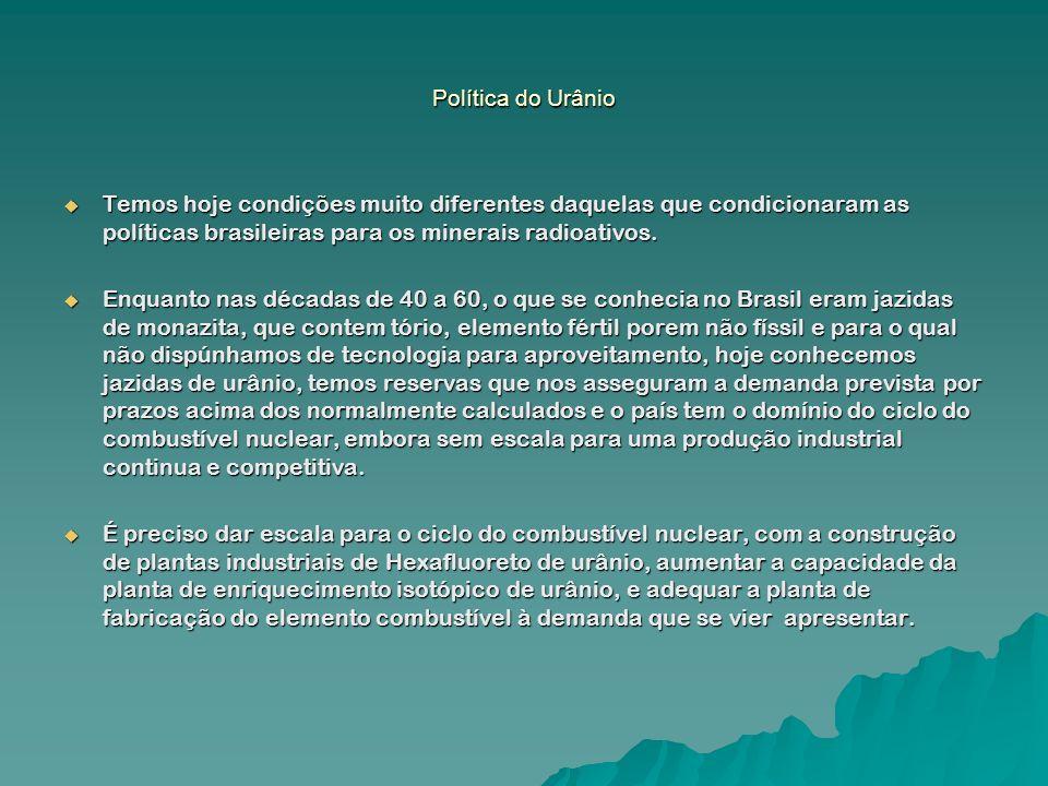 Política do Urânio Temos hoje condições muito diferentes daquelas que condicionaram as políticas brasileiras para os minerais radioativos. Temos hoje