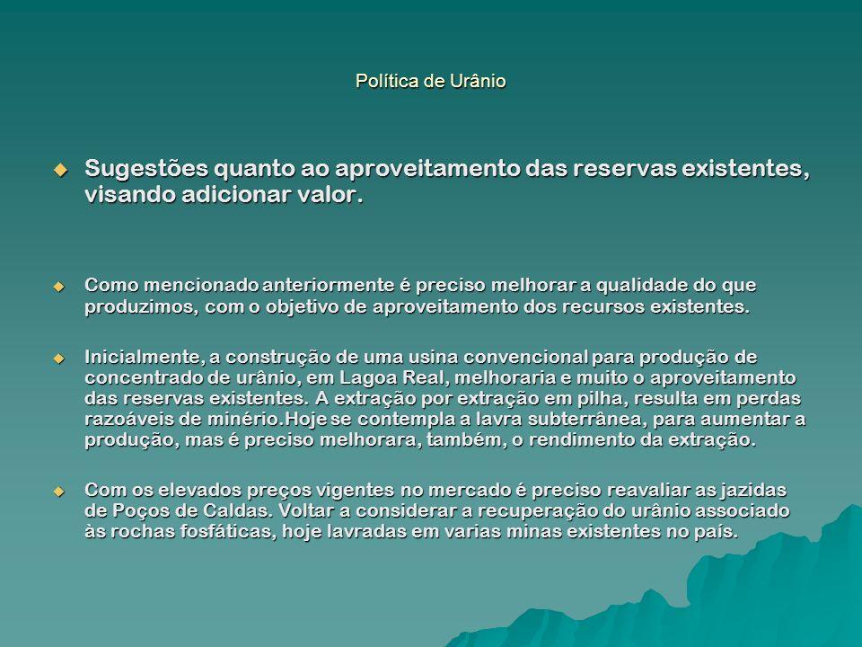Política de Urânio Sugestões quanto ao aproveitamento das reservas existentes, visando adicionar valor. Sugestões quanto ao aproveitamento das reserva