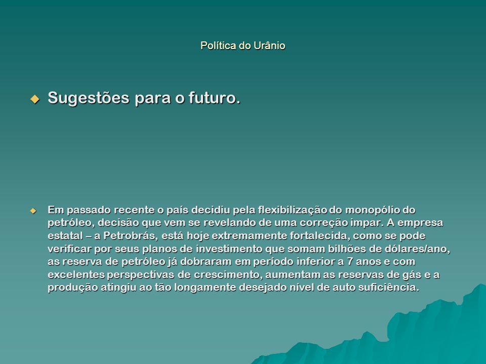 Política do Urânio Sugestões para o futuro. Sugestões para o futuro. Em passado recente o país decidiu pela flexibilização do monopólio do petróleo, d