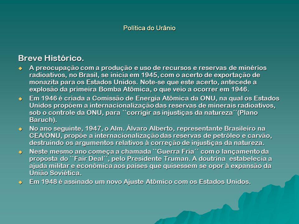Breve Histórico. A preocupação com a produção e uso de recursos e reservas de minérios radioativos, no Brasil, se inicia em 1945, com o acerto de expo