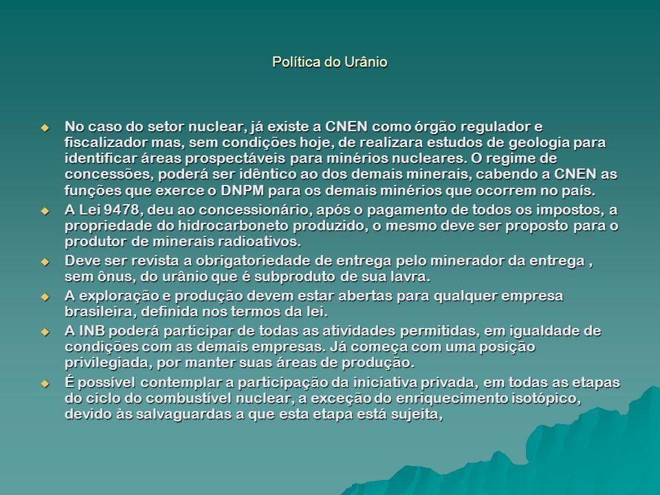 Política do Urânio No caso do setor nuclear, já existe a CNEN como órgão regulador e fiscalizador mas, sem condições hoje, de realizara estudos de geo