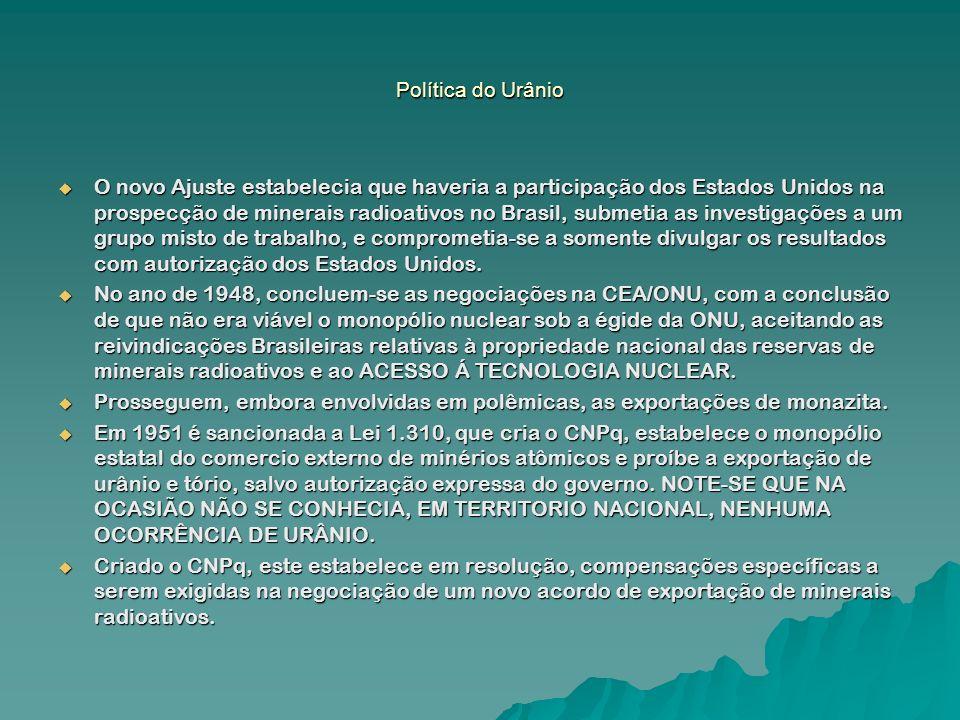 Política do Urânio No ano seguinte, 1952, o Brasil assina novo acordo atômico com os Estados Unidos, sem a exigência de compensações específicas, as quais diziam respeito ao acesso à tecnologia nuclear.