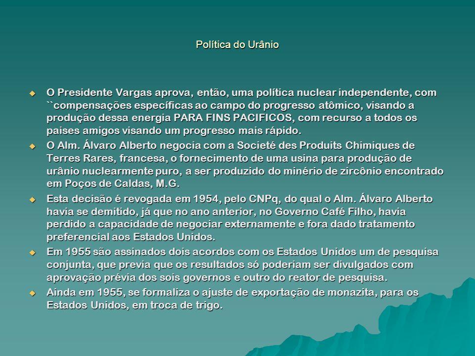 Política do Urânio O Presidente Vargas aprova, então, uma política nuclear independente, com ``compensações específicas ao campo do progresso atômico,