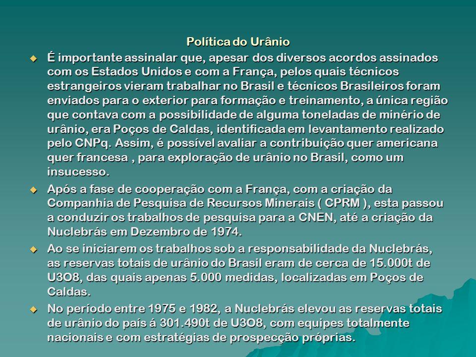 Política do Urânio É importante assinalar que, apesar dos diversos acordos assinados com os Estados Unidos e com a França, pelos quais técnicos estran