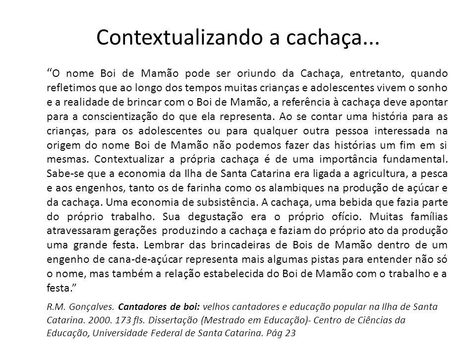 Contextualizando a cachaça... O nome Boi de Mamão pode ser oriundo da Cachaça, entretanto, quando refletimos que ao longo dos tempos muitas crianças e