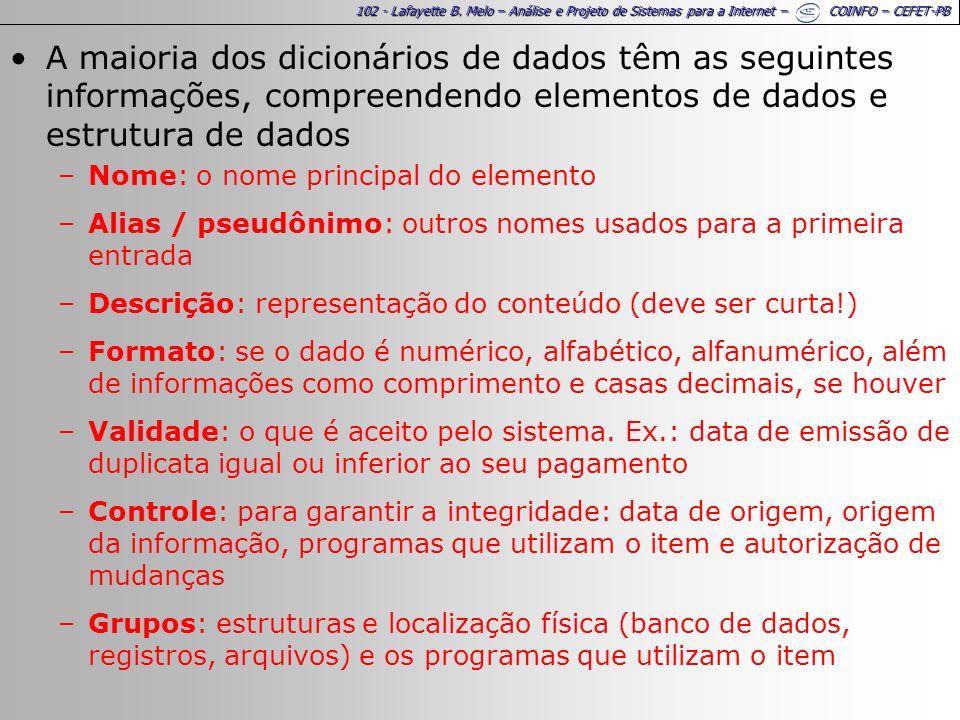 102 - Lafayette B. Melo – Análise e Projeto de Sistemas para a Internet – COINFO – CEFET-PB A maioria dos dicionários de dados têm as seguintes inform