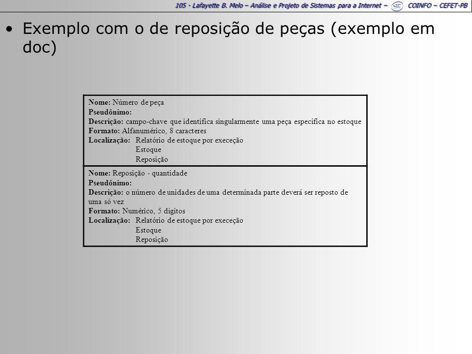 105 - Lafayette B. Melo – Análise e Projeto de Sistemas para a Internet – COINFO – CEFET-PB Exemplo com o de reposição de peças (exemplo em doc) Nome: