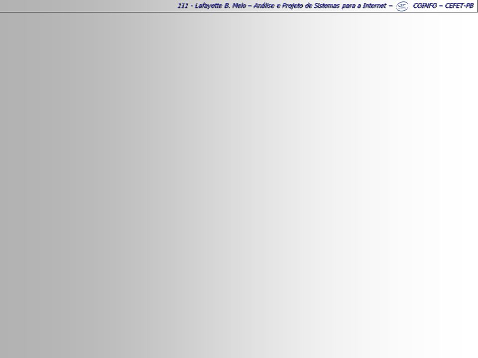 111 - Lafayette B. Melo – Análise e Projeto de Sistemas para a Internet – COINFO – CEFET-PB