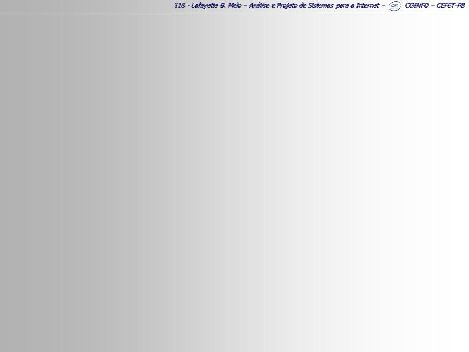 118 - Lafayette B. Melo – Análise e Projeto de Sistemas para a Internet – COINFO – CEFET-PB
