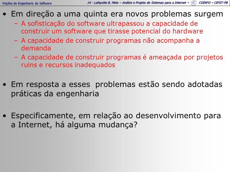 14 - Lafayette B. Melo – Análise e Projeto de Sistemas para a Internet – COINFO – CEFET-PB Em direção a uma quinta era novos problemas surgem –A sofis