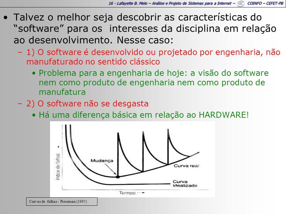 16 - Lafayette B. Melo – Análise e Projeto de Sistemas para a Internet – COINFO – CEFET-PB Talvez o melhor seja descobrir as características do softwa