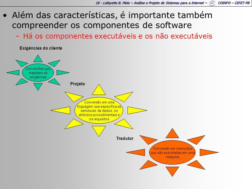 18 - Lafayette B. Melo – Análise e Projeto de Sistemas para a Internet – COINFO – CEFET-PB Além das características, é importante também compreender o